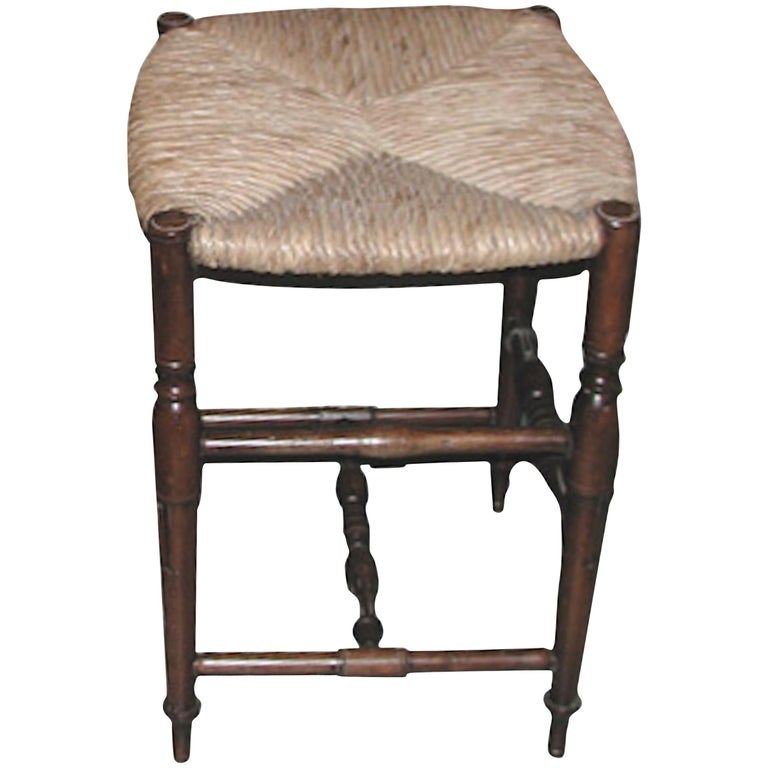Reproduction French Louis Xvi Style Bar Stool With Rush Seat And No Back For
