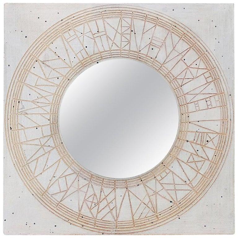 William Wyman Studio Pottery Mirror For Sale