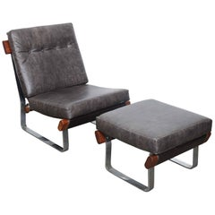 American Midcentury Metal, Wood and Tufted Leather Lounge with Ottoman