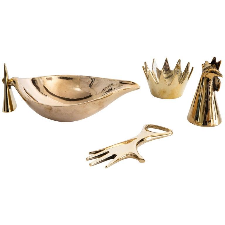 Set of Four Carl Auböck Brass Objects