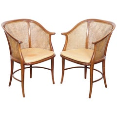Pair of Cane and Leather Italian Chairs with Cherrywood Frames
