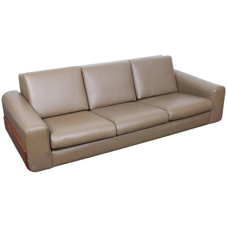 1970s Leather and Rosewood Sofa from Brazil