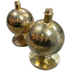 Pair of Italian Brass Globe Lamps, 1960s