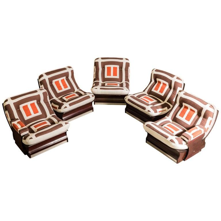 Set of Five, 1970s Italian Lounge Chairs