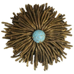 French Wire Fringe Spider Chrysanthemum Brooch Signed Déposé Goldtone Turquoise