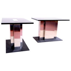 Fine Pair of 1970s Steel Consoles Tables by Willy Rizzo, France