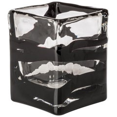 Venini Black Belt Square Glass Vase in Crystal and Black by Peter Marino