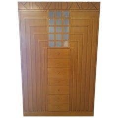 Art Deco Design Inspired Cherrywood Armoire or Cabinet