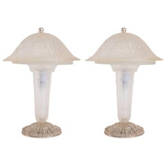 Hettier Vincent Pair of Glass Table Lamps