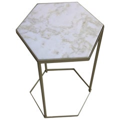 New Marble-Top and Gilt Painted Iron Hexagonal Side Table or End Table