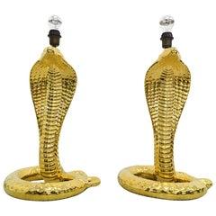 "Italian Ceramic ""Cobra"" Table Lamp Set Designed by Tommaso Barbi, 1970s"