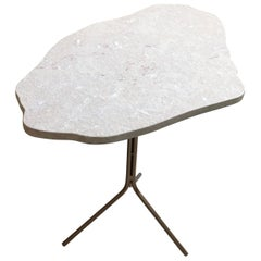 New Cloud Form Stone Top and Gilt Iron Pedestal or Coffee Table