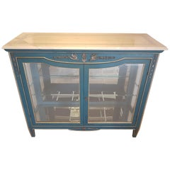 Coral Blue Vitrine Commode with Marble Top and Metal Ornamentations