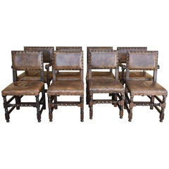 Set of Eight Oak Cromwellian Style Dining Chairs
