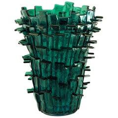 Venini Ritagli Glass Vase in Iridescent Green and Aquamarine by Fulvio Bianconi