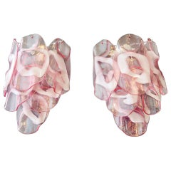 1970s Pair of Vintage Italian Murano Wall Lights, Pink Lattimo Glasses
