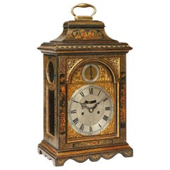 Antique Chinoiserie Lacquer Clock by John Parker, Greenwich