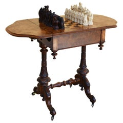 19th Century Victorian Burr Walnut Games Table