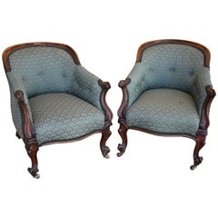Pair of 19th Century Victorian Rosewood Tub Chairs