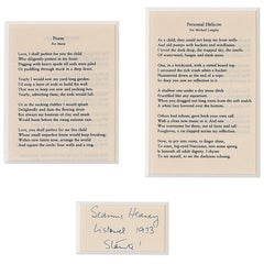 Seamus Heaney 'Poem for Marie & Personal Helicon for Michael Longley'
