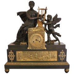 Important Bronze Clock from Empire Time or Restoration, 19th Century