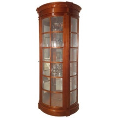 Round Classic Design Cherry Wood Vitrine Cabinet with Lighting