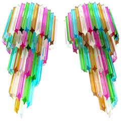 Monumental Pair of Vintage Murano Wall Sconce, 41 Multi-Color Quadriedri