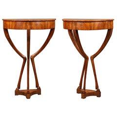 Pair of Unusual Italian Demilune Side Tables