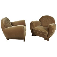 Rare Pair of Art Deco Lounge Chairs from France, circa 1950