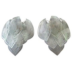 Pair of Vintage Murano Transparent Big Glass Leaves with Green Reflexes