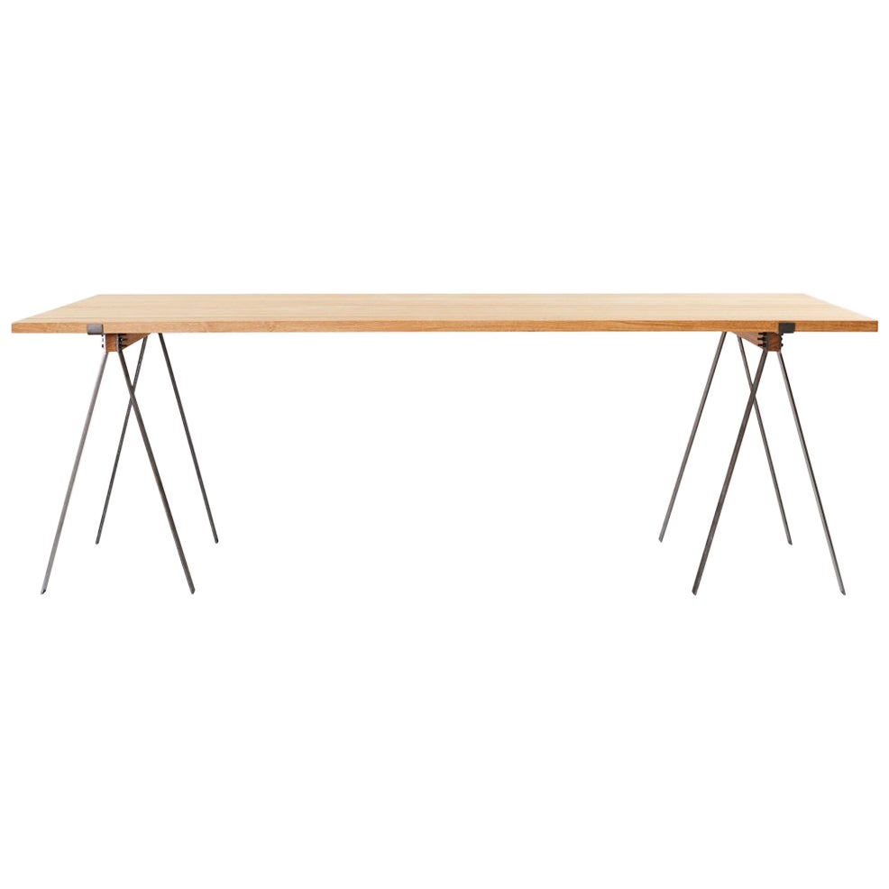 Contemporary Trestle Table with Solid Oak Planks and Steel Legs