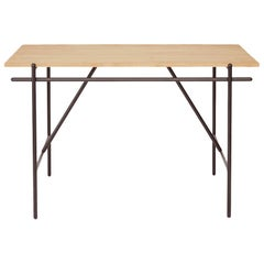 Contemporary WD-1: Writing Desk with Oak Top and Black Steel Frame