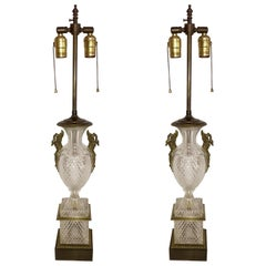 Fine Pair of French Diamond Cut-Crystal Urn Bronze Swan Ormolu Handles Lamps