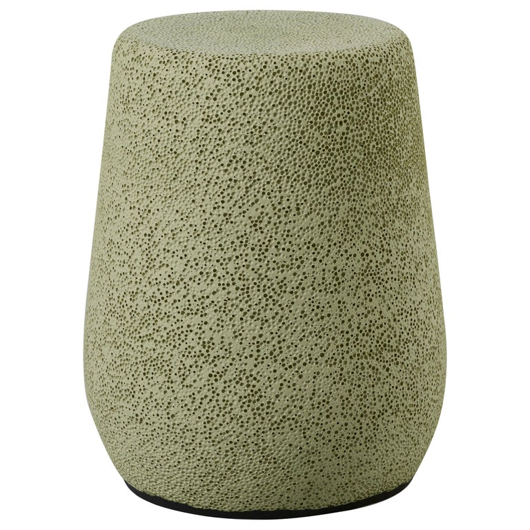 'Lightweight Porcelain' Stool and Side Table, Yellow Green