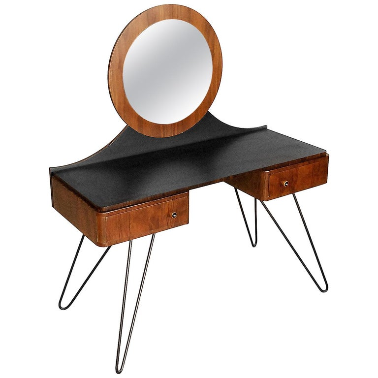 Modern Art Deco Walnut Dressing Table With Round Mirror 1950s For