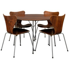 Rosewood Table and Dining Chair set by Arne Jacobsen