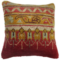 Red Antique Oushak Rug Pillow