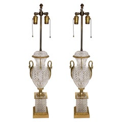 Pair of French Neoclassical Cut Crystal Urn Bronze Swan Ormolu Handles Lamps