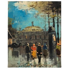 "Charming French Oil Painting ""Paris Opera House"" by Soiret"