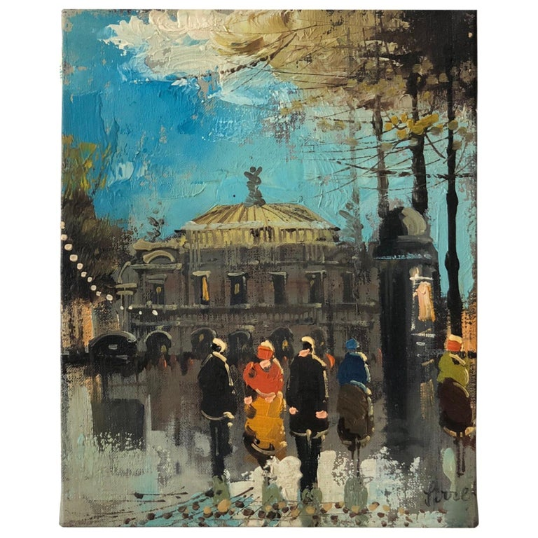 """Charming French Oil Painting """"Paris Opera House"""" by Soiret For Sale"""
