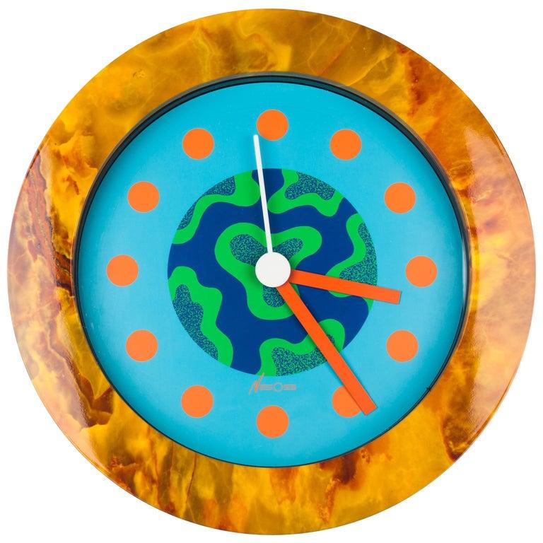 Memphis Clock, Orange Marble Effect, du Pasquier Sowden x Neos, Italy, 1980s For Sale