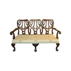 Antique English Mahogany Triple Back Settee, circa 1850-1870