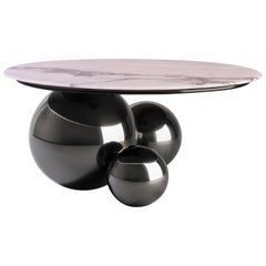 'Jinshi Pink Jade' Coffee Table, Gunmetal Grey Version