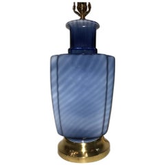 Blown Blue Glass Table Lamp
