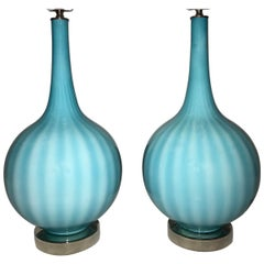 Blue Murano Glass Table Lamps