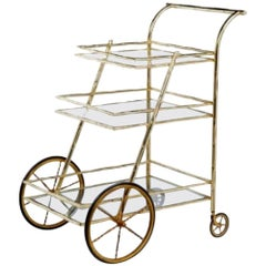 French Simulated Bamboo Brass Drinks Trolley, 1970s