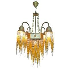French Art Deco & Art Nouveau Amber Straw Fringe & White Beaded Glass Chandelier