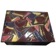1970s French Francois Limbo Rare Box with Multi-Color Organic Shapes