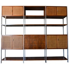 Walnut, Cane and Aluminum Wall Unit or Room Divider by Founders, circa 1970