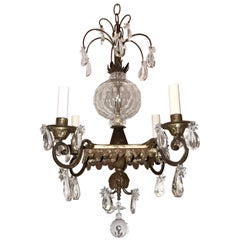 Mid-Century Modern Vintage French Bagues Crystal Silver Square Star Chandelier